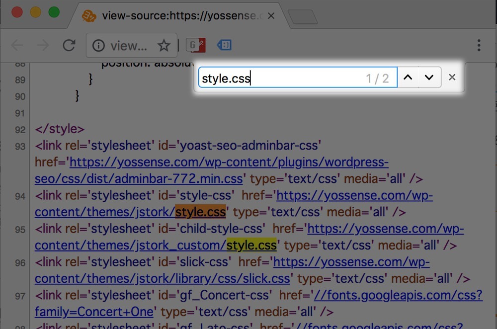 「style.css」を検索
