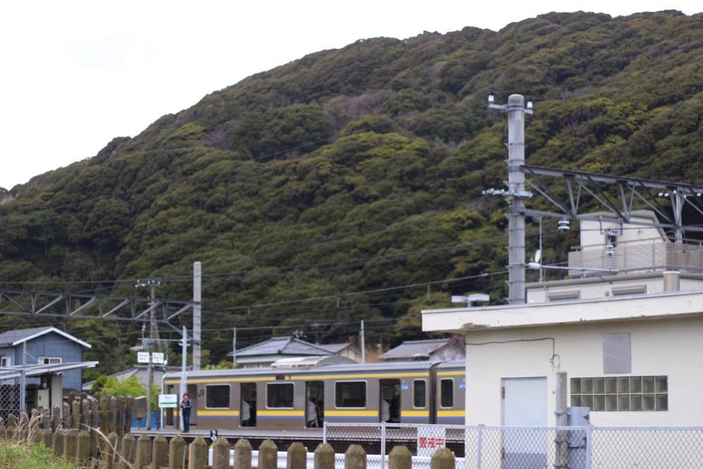 金谷駅から見た山