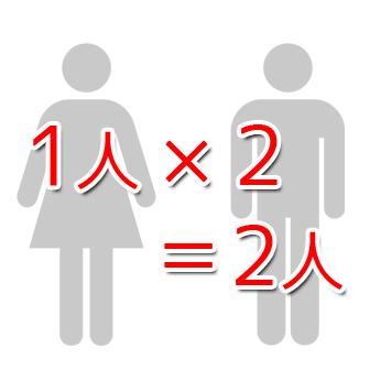 1人×2=2人