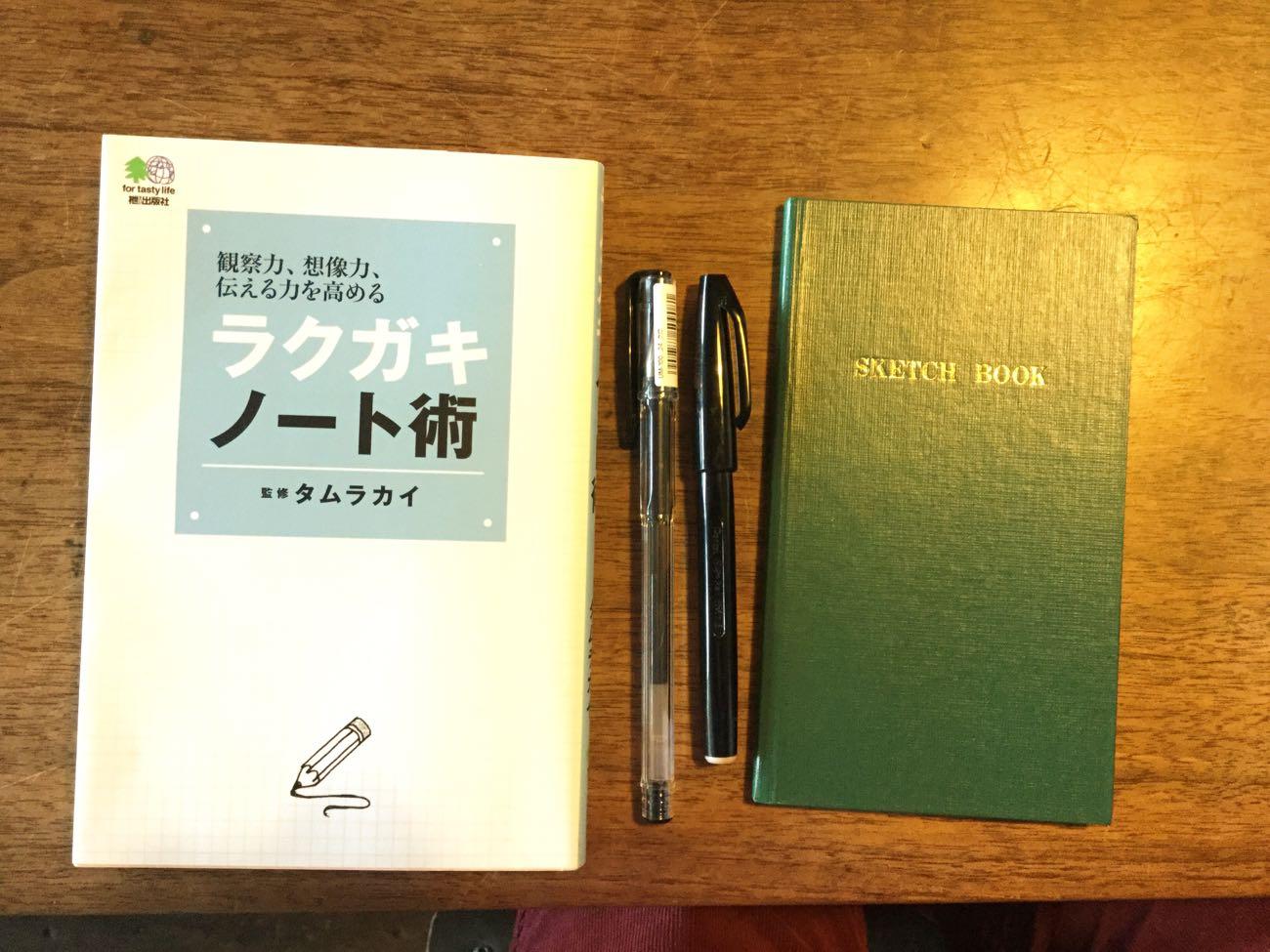 タムカイさん著書『ラクガキノート術』と野帳とペン
