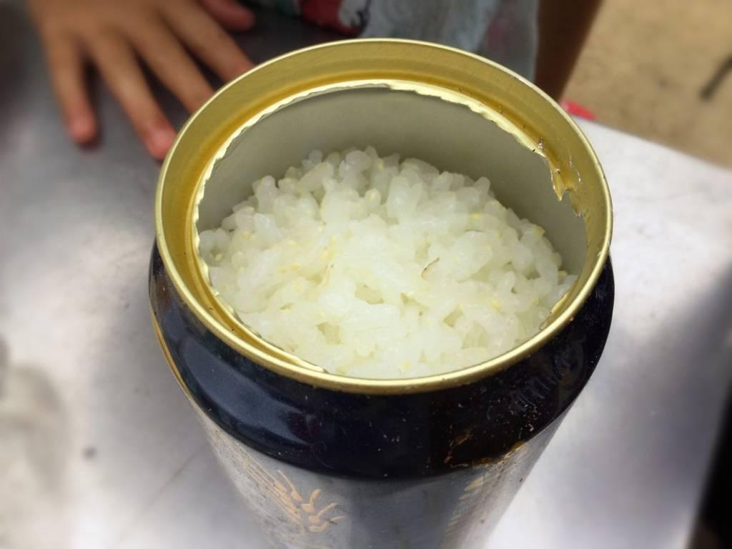 空き缶でまじで米が炊けたよ!