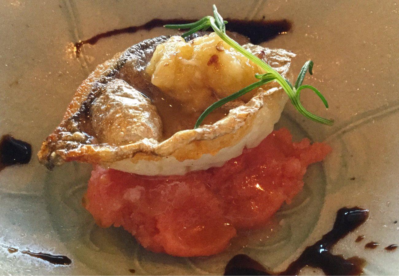 白身魚とトマトシャーベット