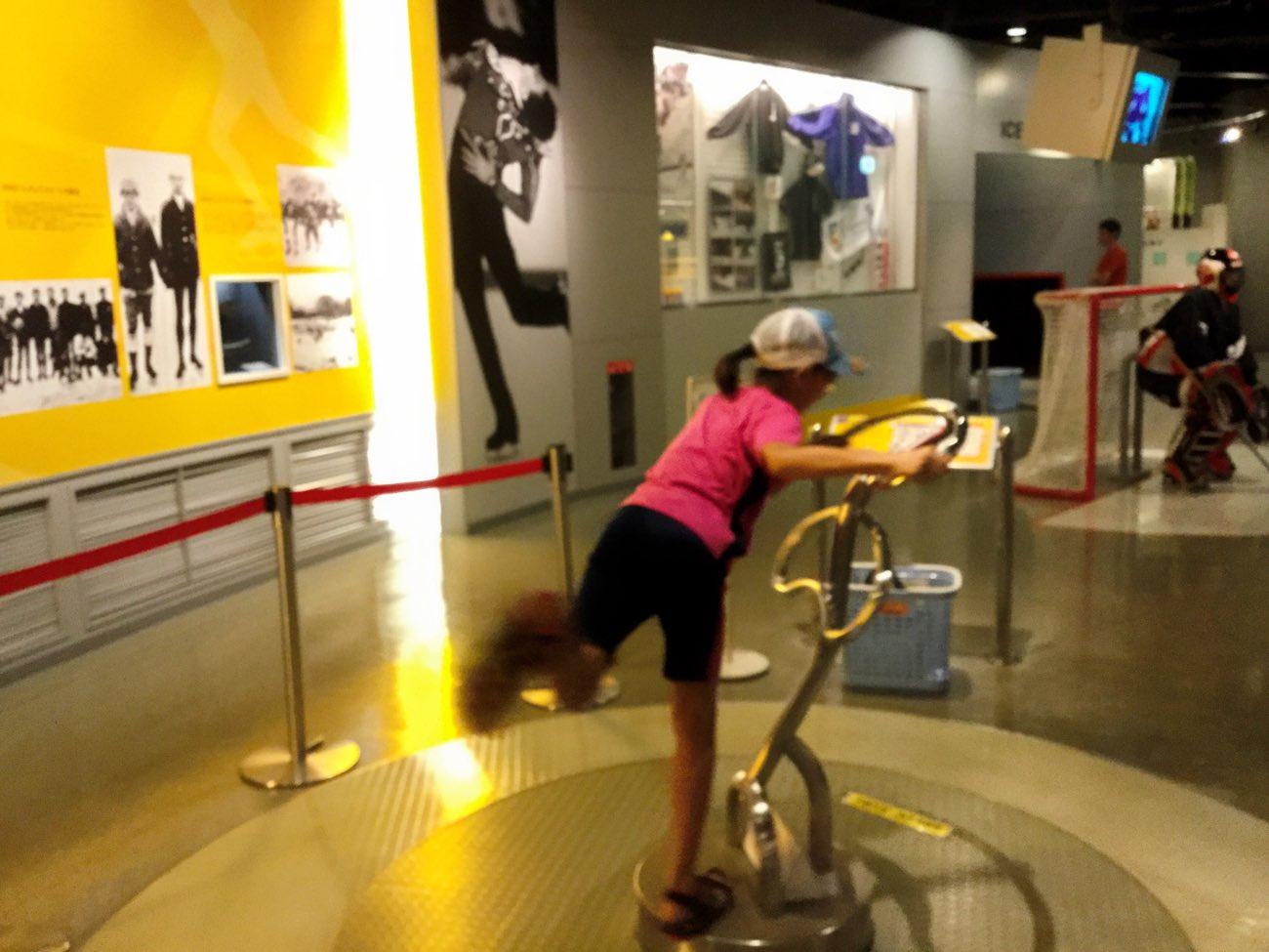 フィギュアスケートのスピンを体験できる