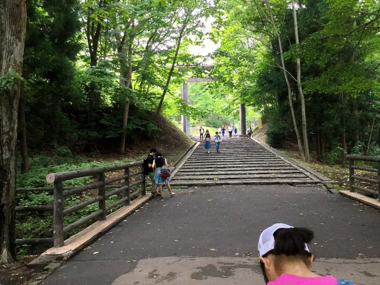 北海道神宮の鳥居が見えてきた!