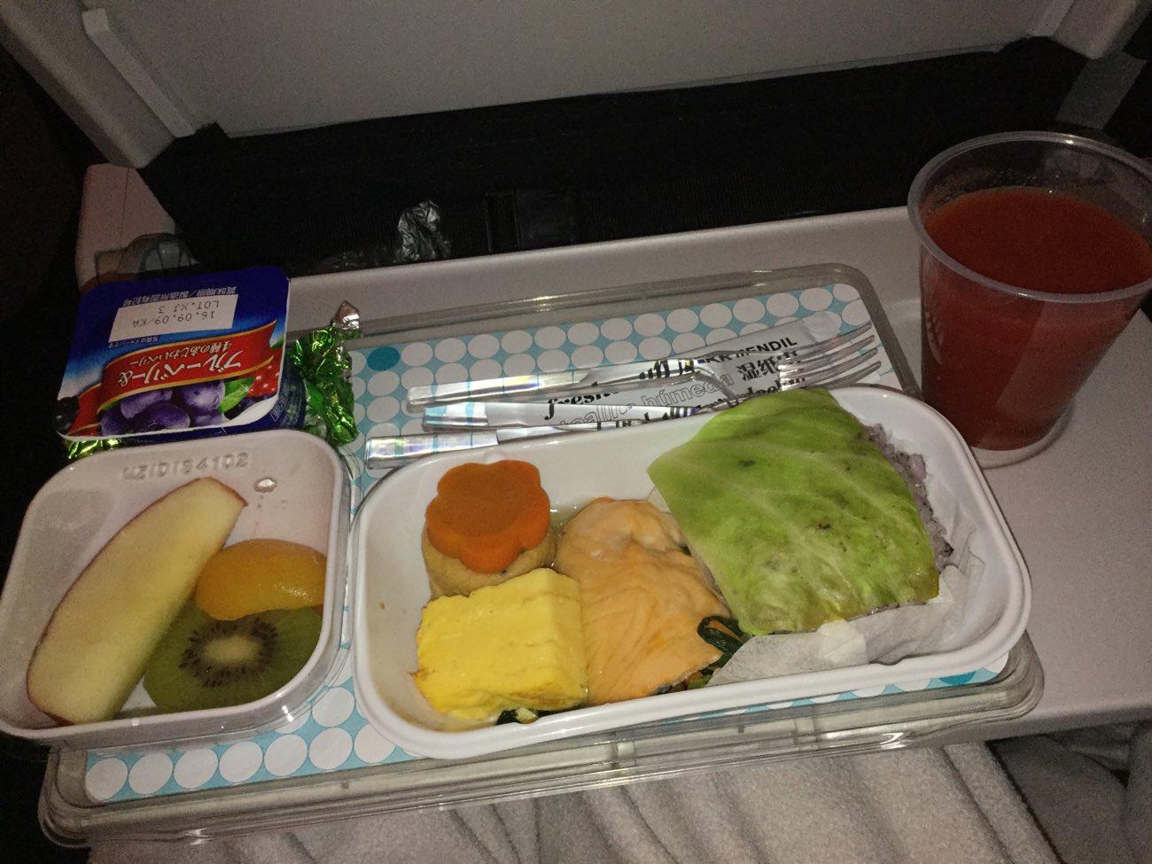 ニュージーランド航空の機内食(朝食)