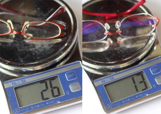 左:今までのメガネ 26g・右:アキシアライト 13g