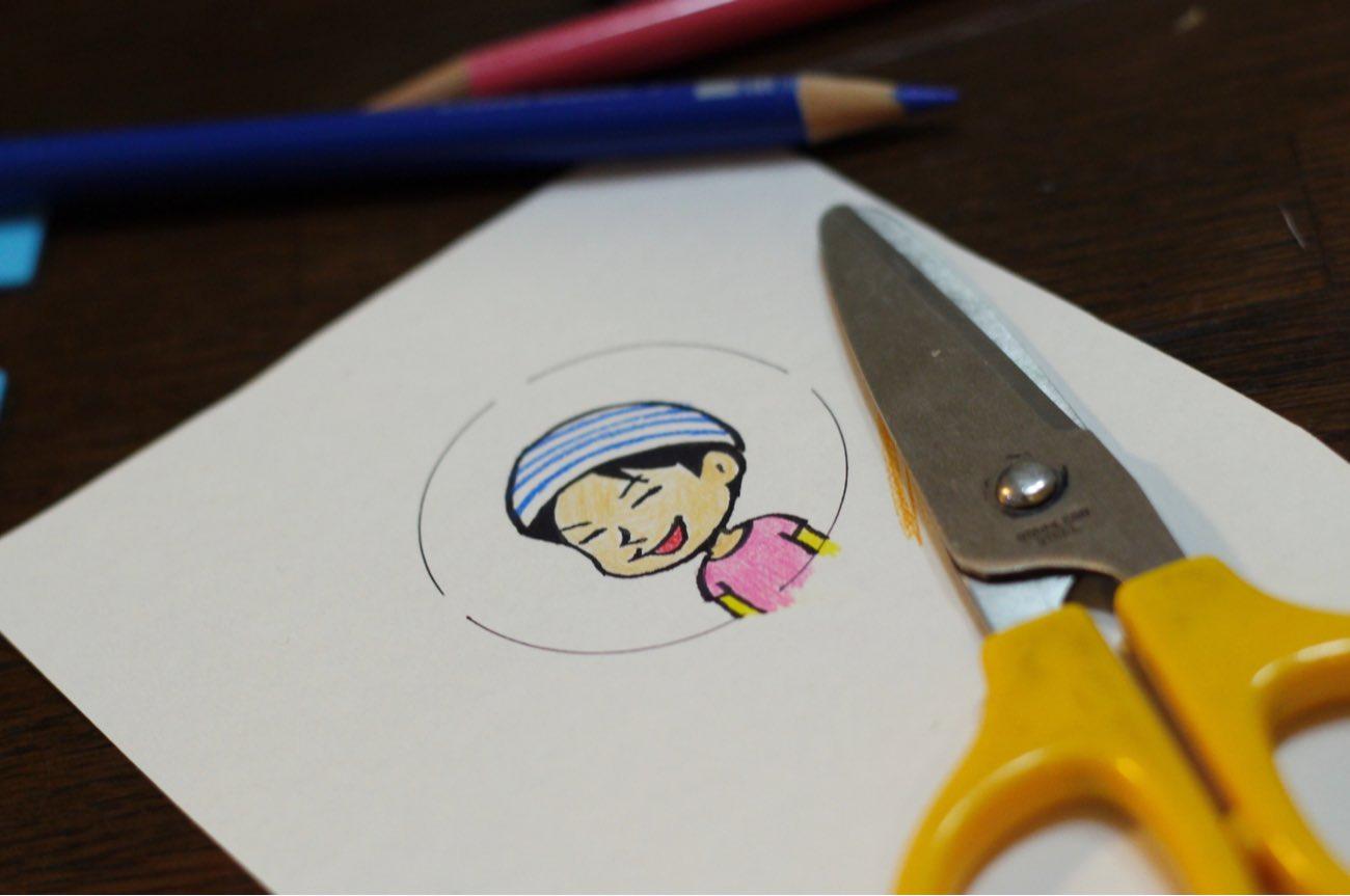 イラストを円の内部に描いて切る
