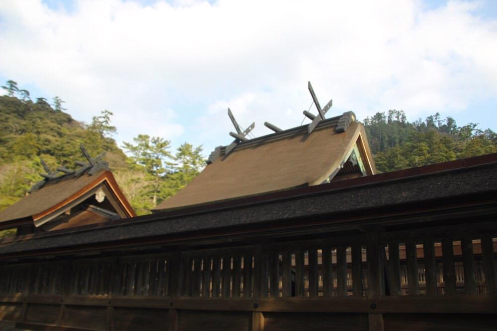 本殿の屋根を周りから撮影