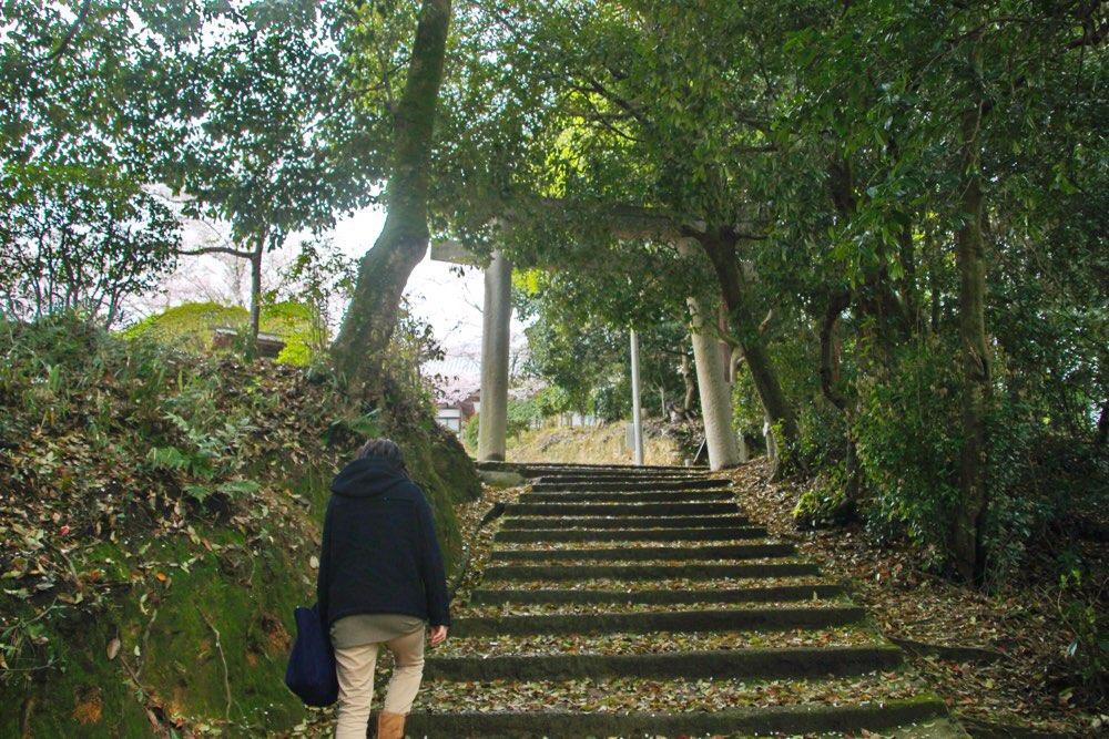裏参道でも最初は階段が続く