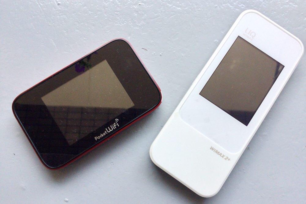 左: ワイモバイルのPocket WiFi・右: WiMAX