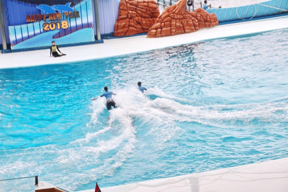 人間が水の上を飛んでいる?